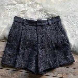 Marc Jacobs Woven High Waisted Shorts Wool Blend